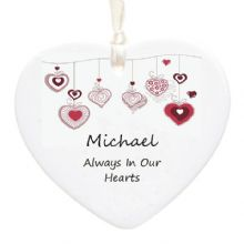 In Loving Memory Ceramic Heart - Personalised Christmas Tree Memorial Decoration